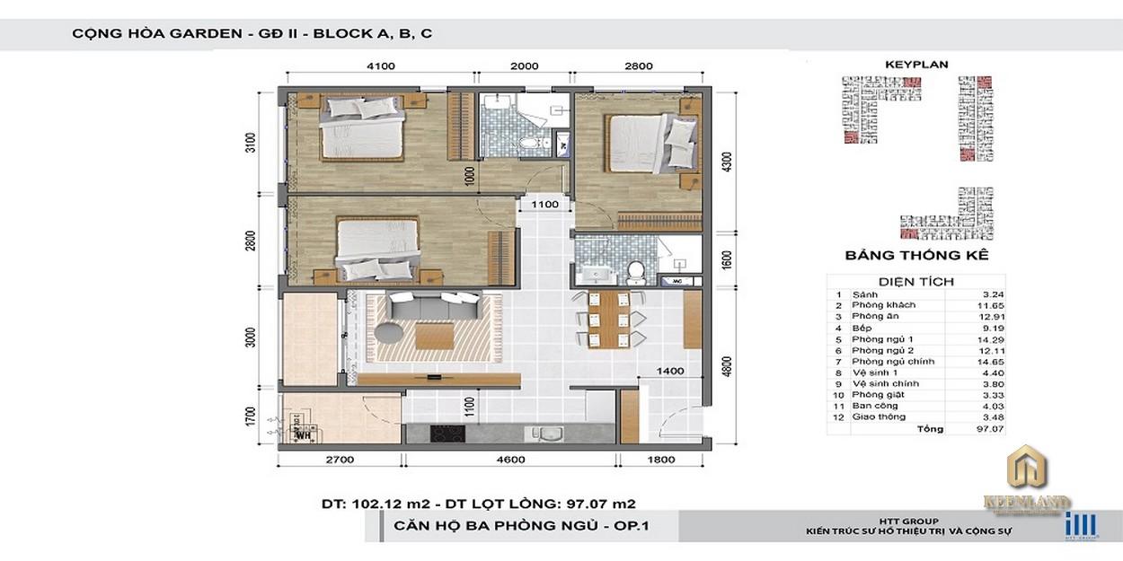 Thiết kế chi tiết căn hộ 3 phòng ngủ Cộng Hòa Garden