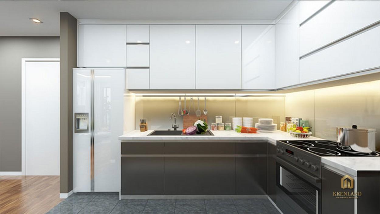 Thiết kế gian bếp căn hộ mẫu The Gold View Quận 4