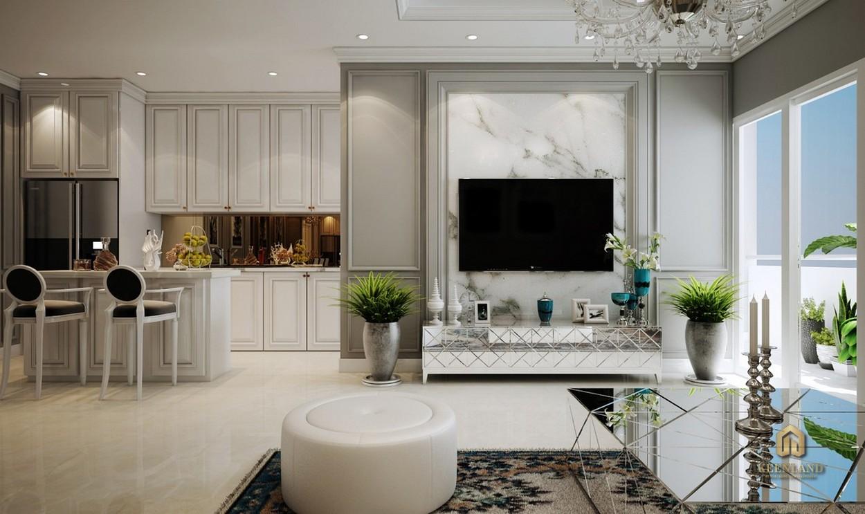 Thiết kế phòng khách căn hộ mẫu Grand Central Quận 3
