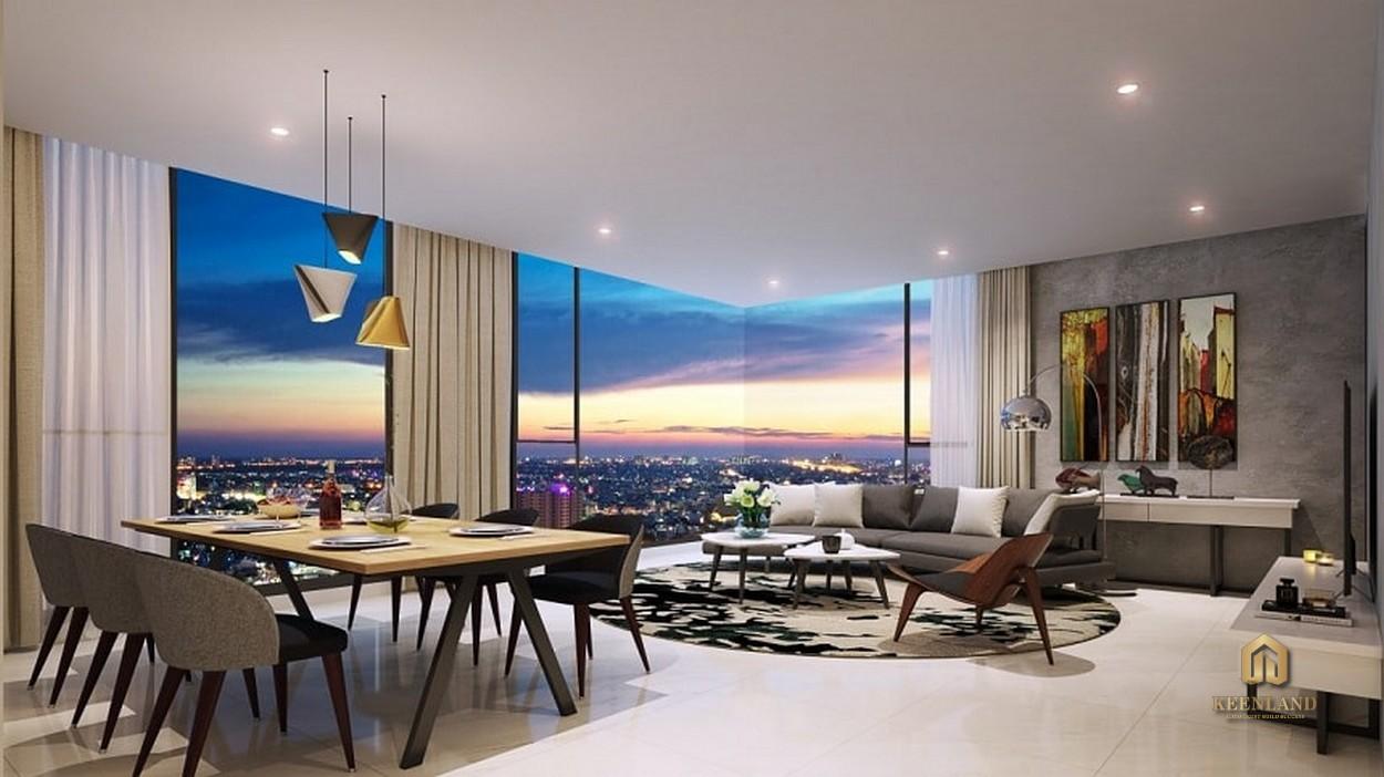 Thiết kế phòng khách căn hộ mẫu Kingdom 101