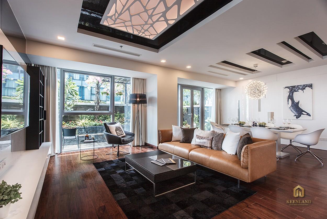 Thiết kế phòng khách căn hộ mẫu Vinhomes Đồng Khởi