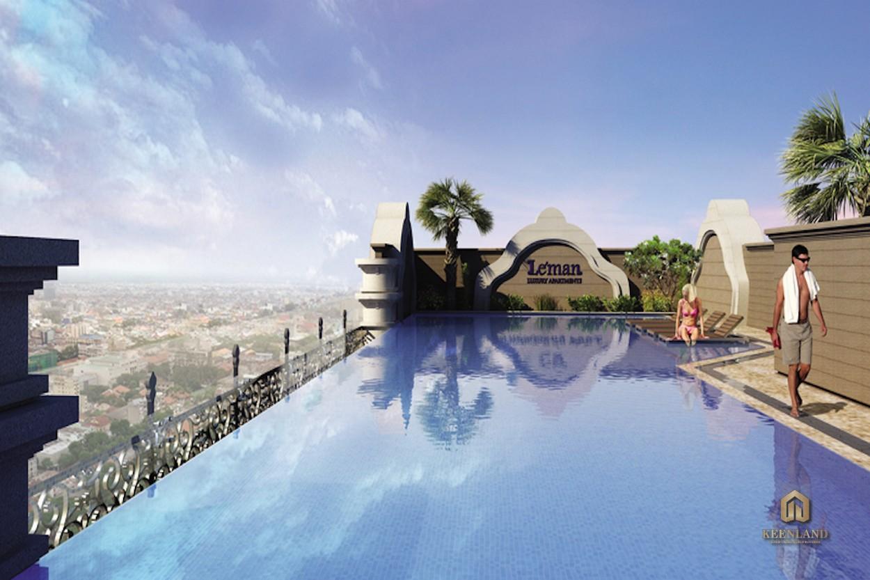 Hồ bơi rộng lớn tại dự án Léman Luxury Apartment Quận 3