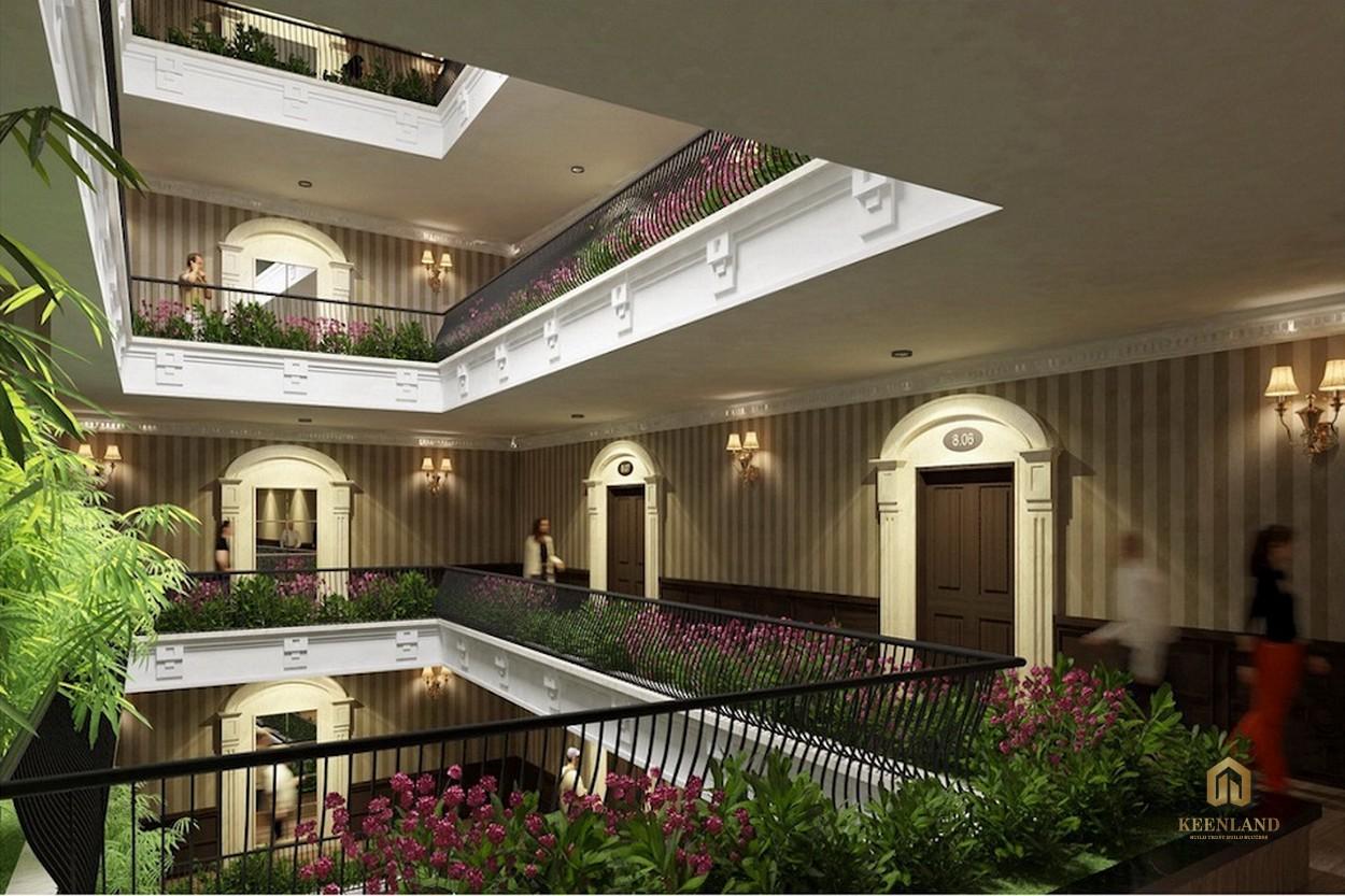 Hành lang thông thoáng ngập tràn sắc hoa - Tiện ích nội khu dự án Léman Luxury Apartment Quận 3