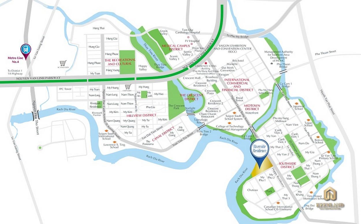 Vị trí dự án căn hộ Riverside Residence Quận 7