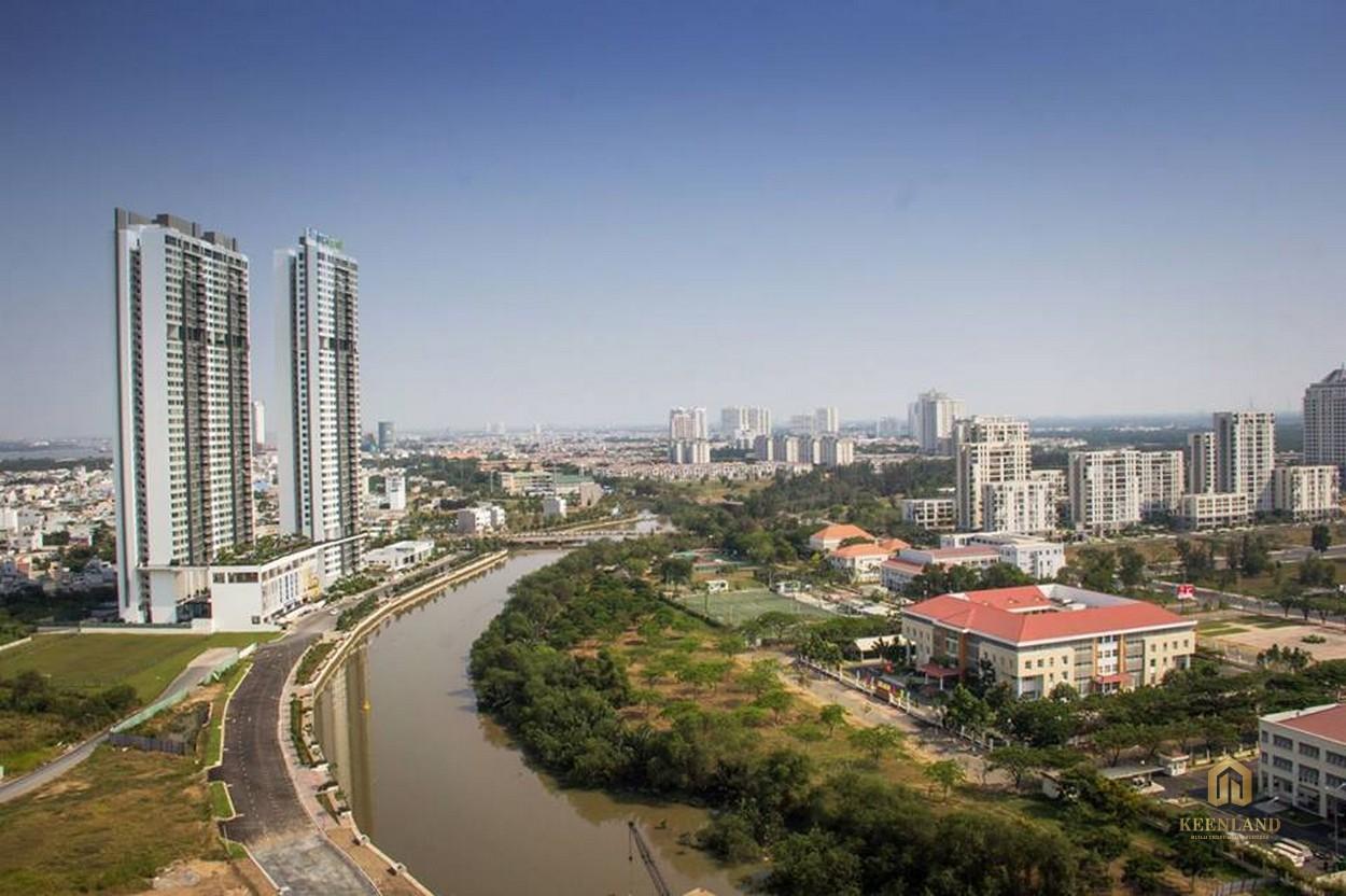View từ căn hộ Docklands Saigon Quận 7 nhìn ra khu đô thị Phú Mỹ Hưng