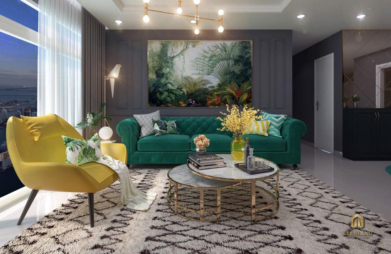 Phòng khách căn hộ mẫu Republic Plaza