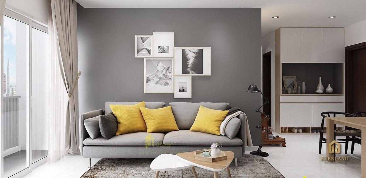 Phòng khách căn hộ mẫu The Harmona