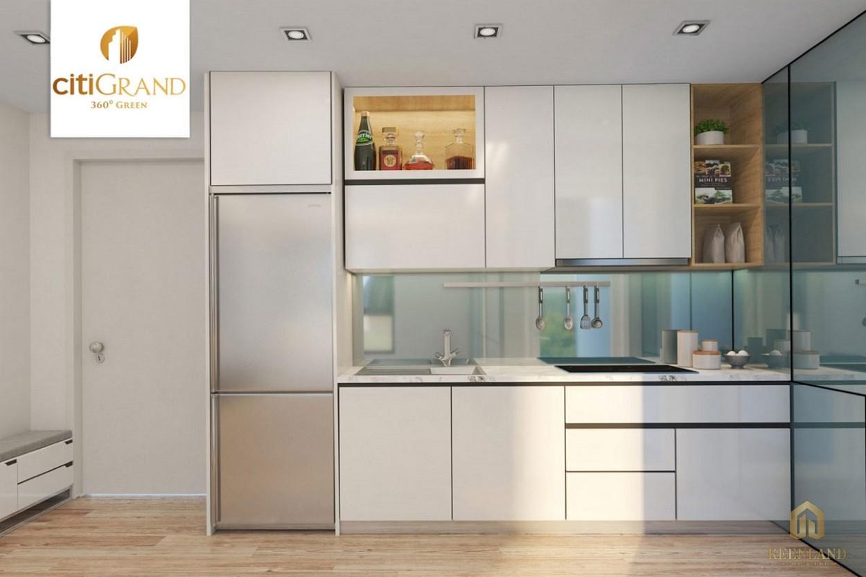 Phòng bếp nhà mẫu căn hộ Citi Grand Quận 2