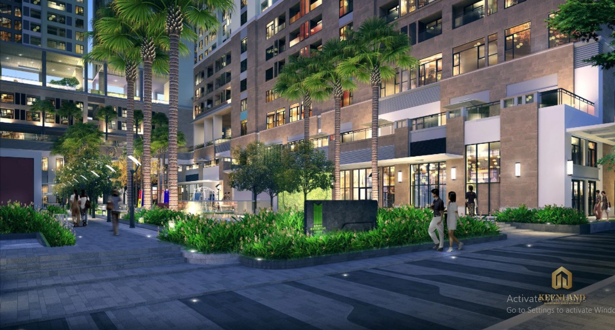 Đường dạo bộ tràn ngập cây xanh - Tiện ích nội khu căn hộ chung cư H1 Hoàng Diệu