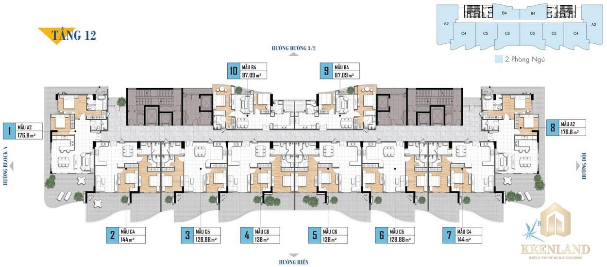 Mặt bằng tầng 12 khu nghỉ dưỡng Aria Vũng Tàu