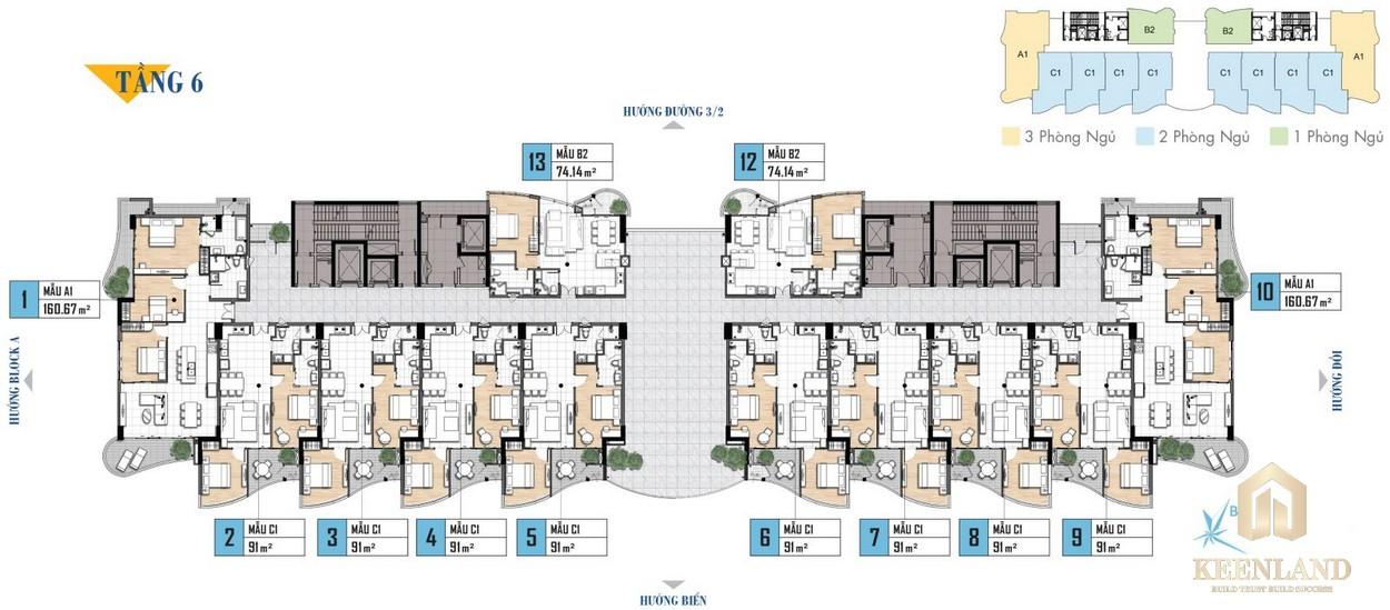 Mặt bằng tầng 6 khu nghỉ dưỡng Aria Vũng Tàu