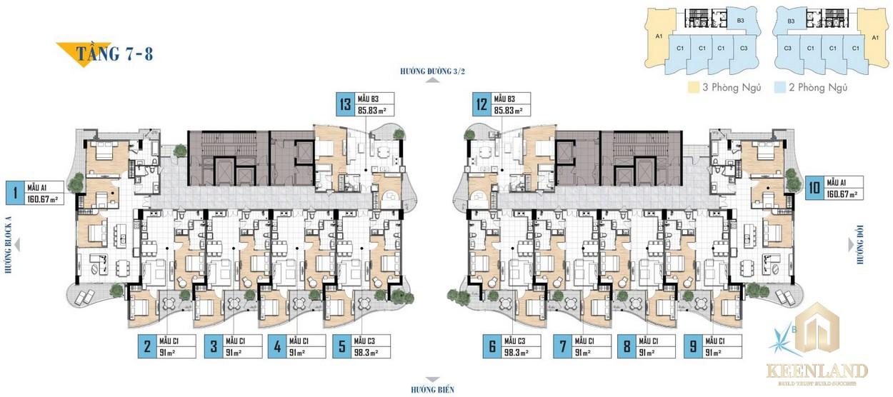 Mặt bằng tầng 7-8 khu nghỉ dưỡng Aria Vũng Tàu
