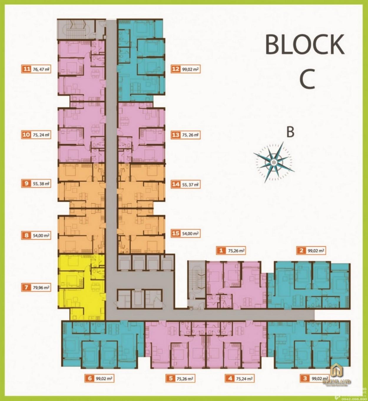 Mặt bằng điển hình Block C dự án Palacio Garden