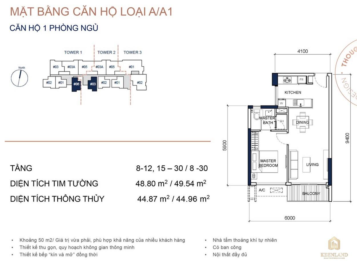 Mặt bằng chi tiết căn hộ 1PN dự án cao cấp Q2 Thảo Điền