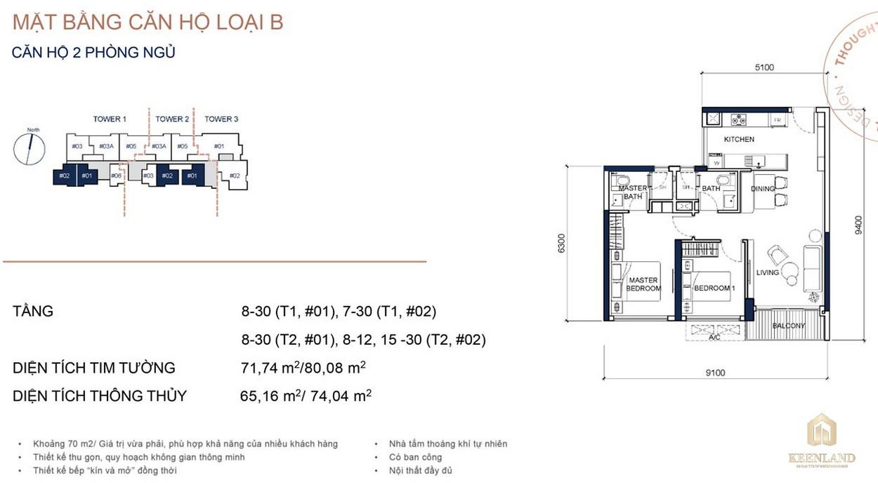 Mặt bằng chi tiết căn hộ 2PN dự án cao cấp Q2 Thảo Điền