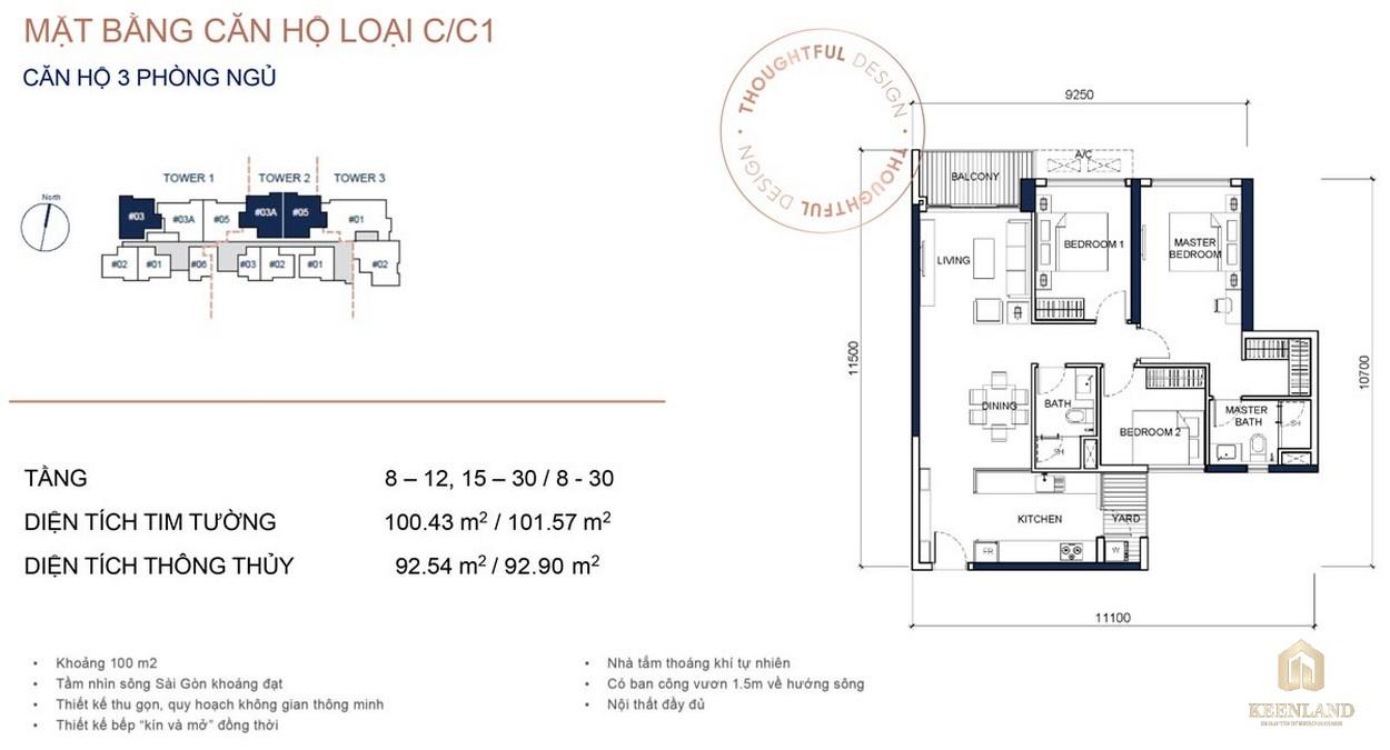 Mặt bằng chi tiết căn hộ 3PN dự án cao cấp Q2 Thảo Điền
