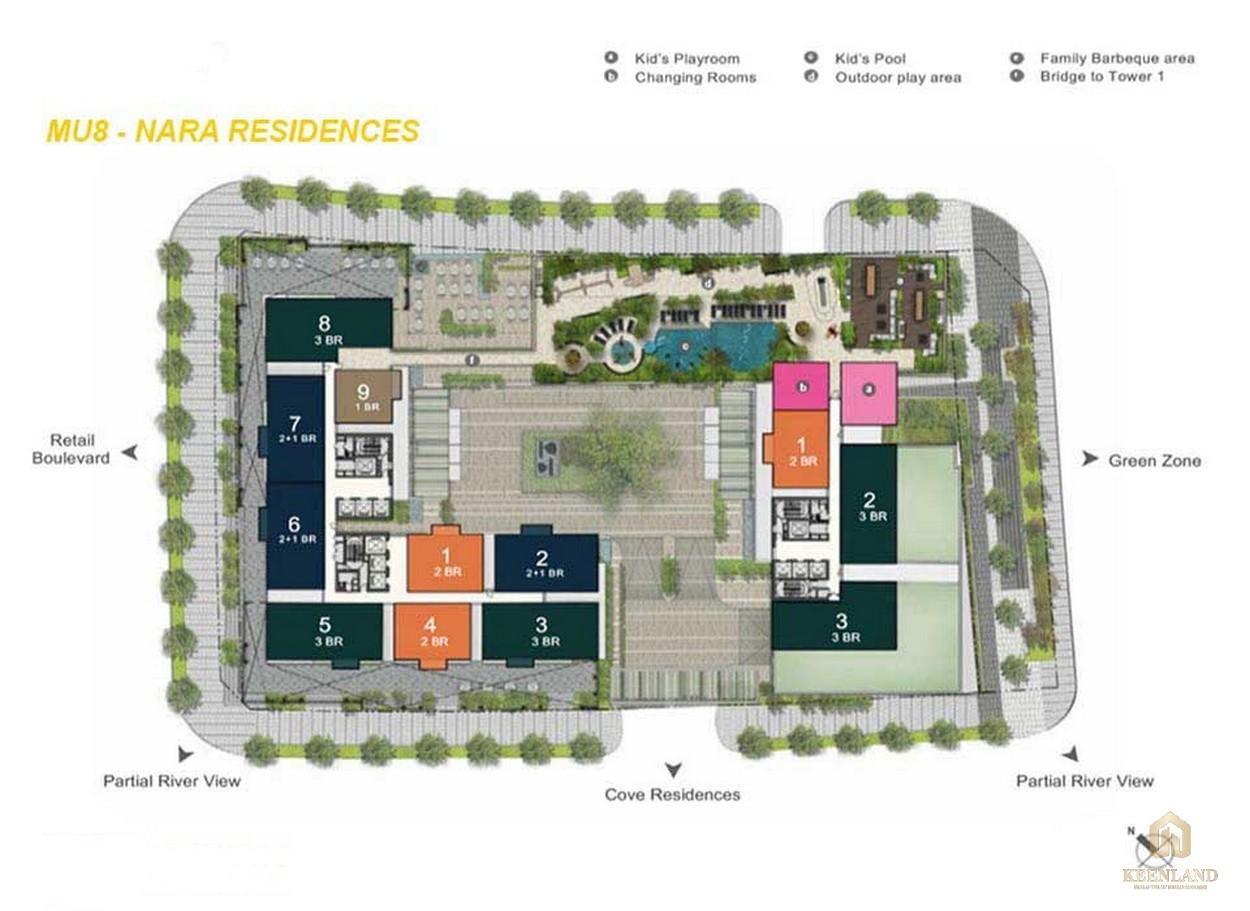 Mặt bằng chi tiết tòa tháp Nara Residences dự án Empire City