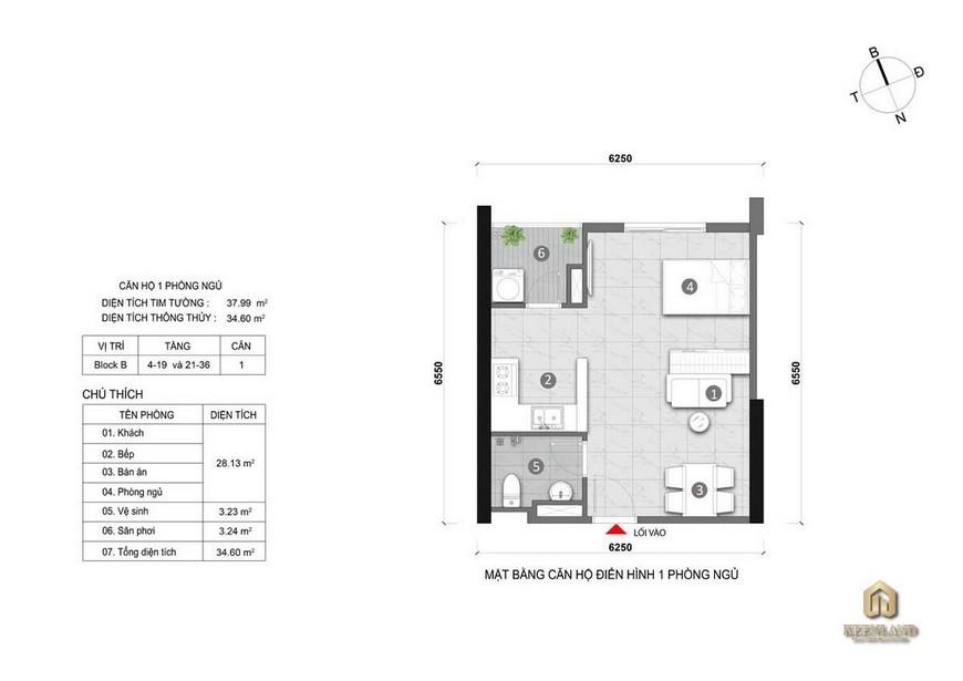 Thiết kế chi tiết căn hộ Opal Cityview 1 Phòng ngủ