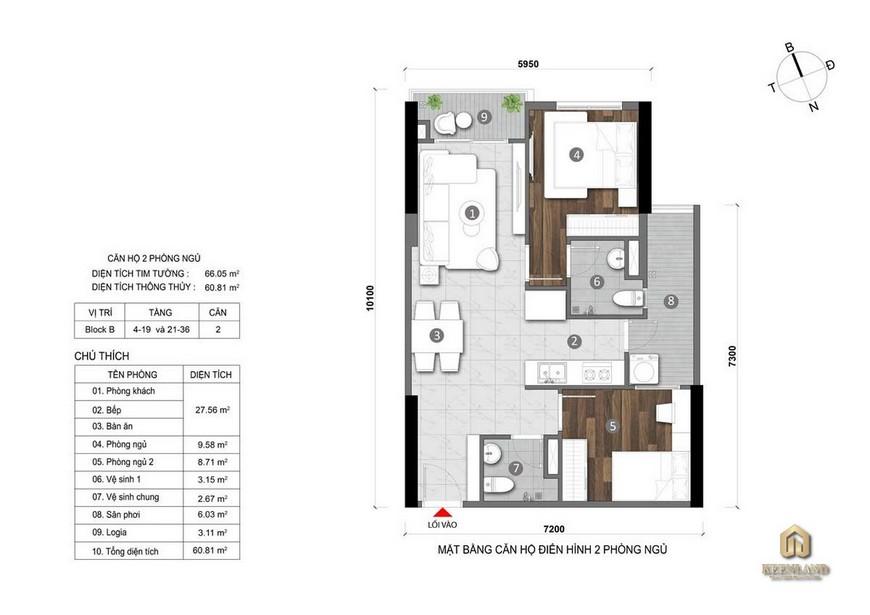 Thiết kế chi tiết căn hộ Opal Cityview 2 Phòng ngủ