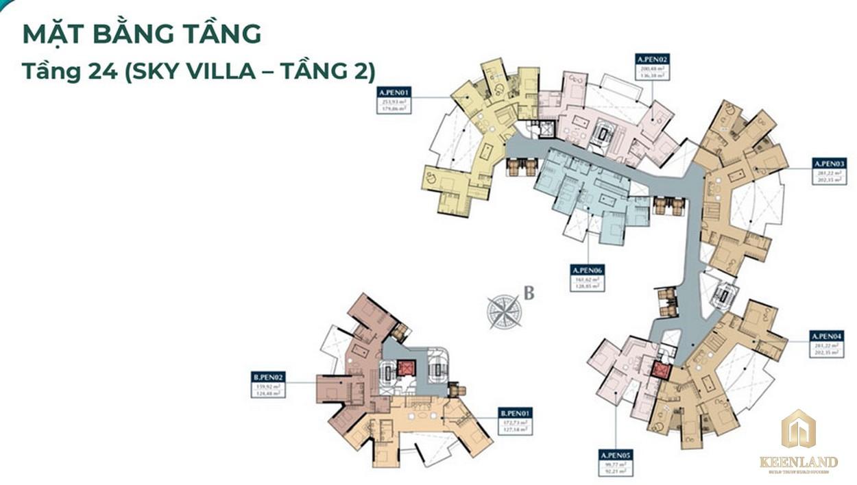 Mặt bằng Sky Villa tầng 24 căn hộ Sunshine Venicia Quận 2