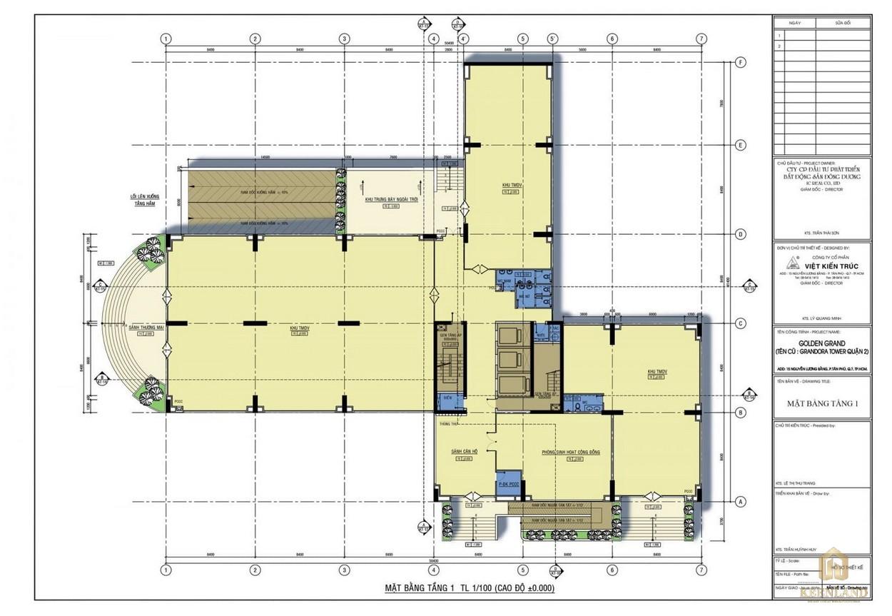 Mặt bằng tầng 1 dự án căn hộ Golden Grand quận 2