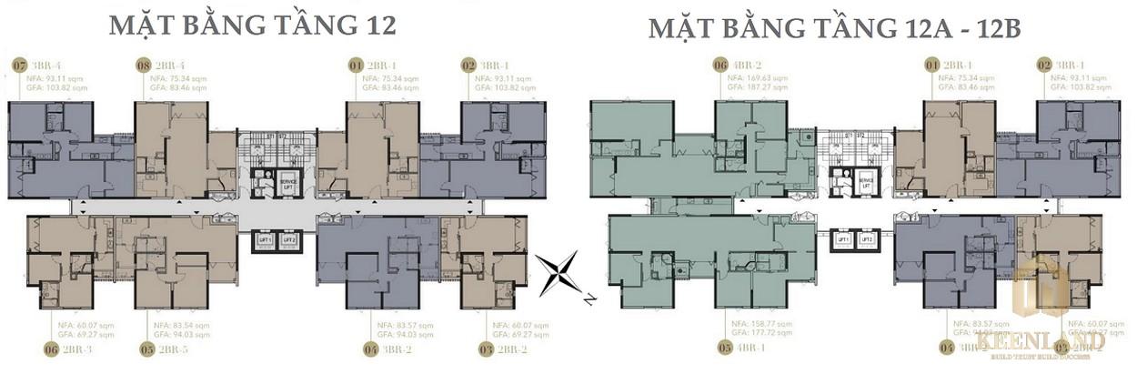 Mặt bằng tầng 12-12A-12B dự án D1 Mension Quận 1