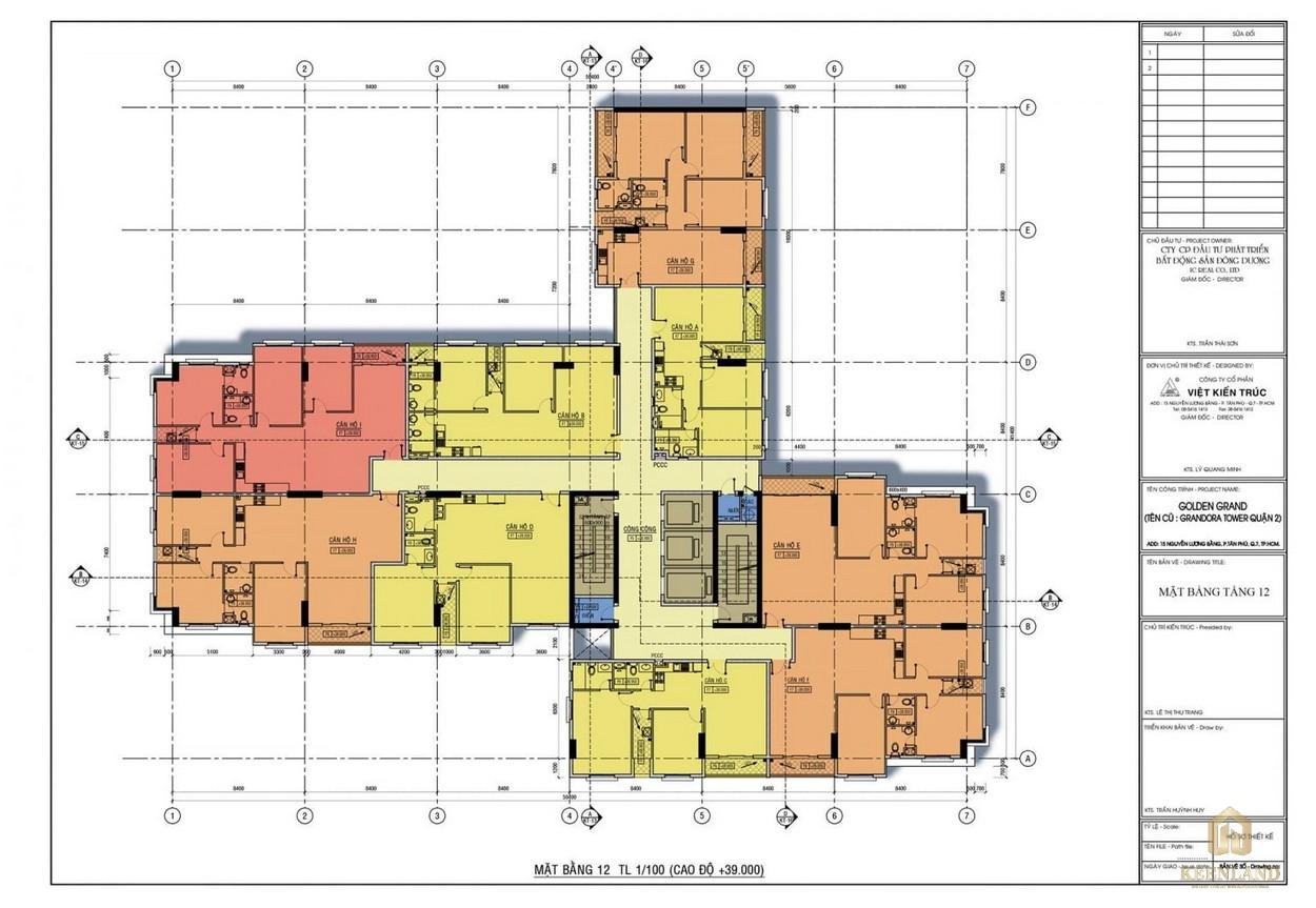 Mặt bằng tầng 12 dự án căn hộ Golden Grand quận 2