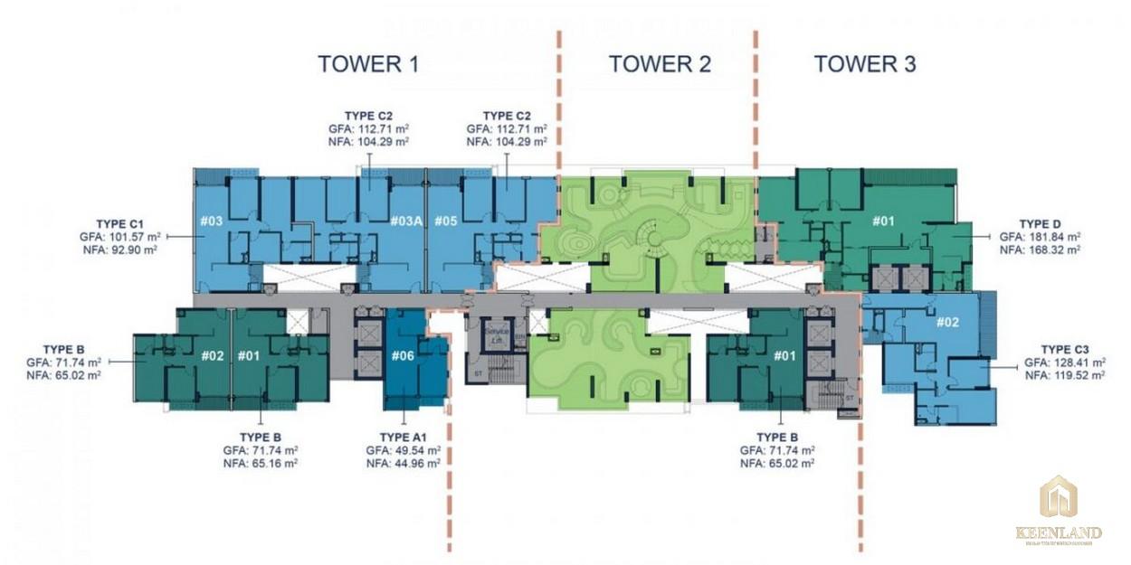 Mặt bằng tầng 12A dự án cao cấp Q2 Thảo Điền