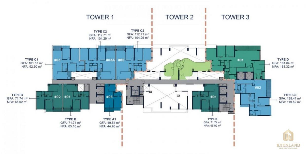 Mặt bằng tầng 12B dự án cao cấp Q2 Thảo Điền