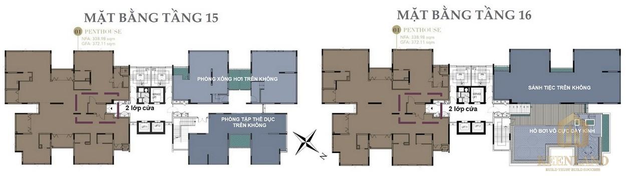 Mặt bằng tầng 15-16 dự án D1 Mension Quận 1