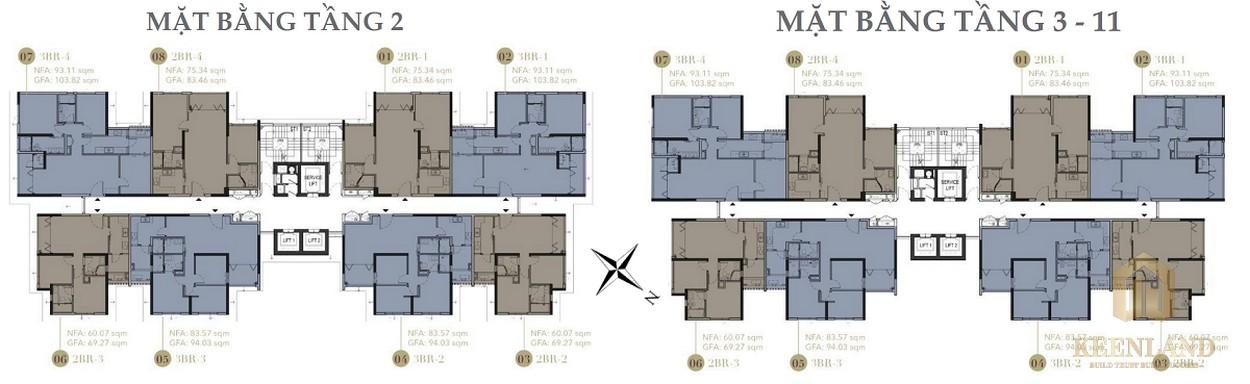 Mặt bằng tầng 2 và 3-11 dự án D1 Mension Quận 1