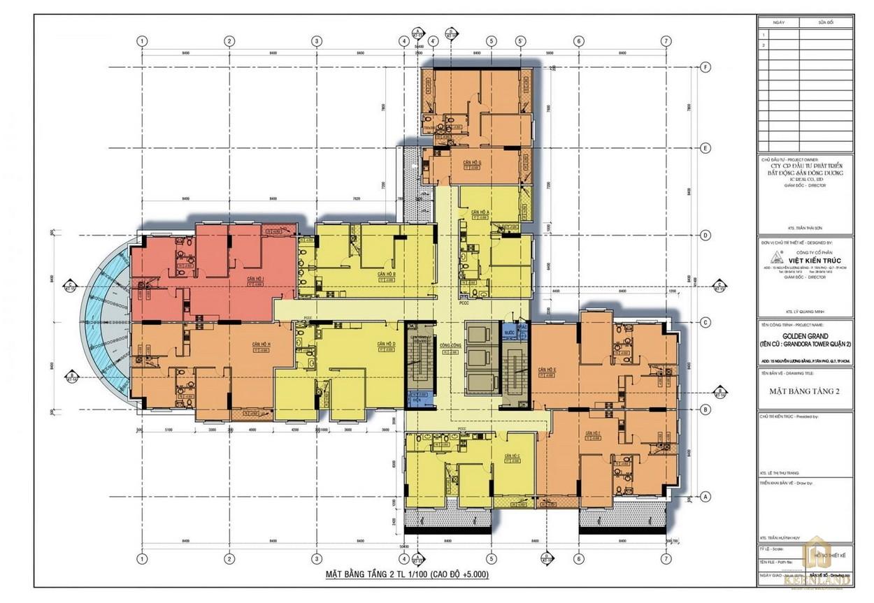 Mặt bằng tầng 2 dự án căn hộ Golden Grand quận 2