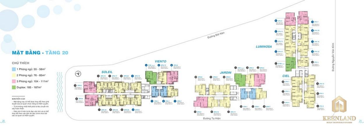 Mặt bằng tầng 20 dự án căn hộ chung cư One Verandah Quận 2