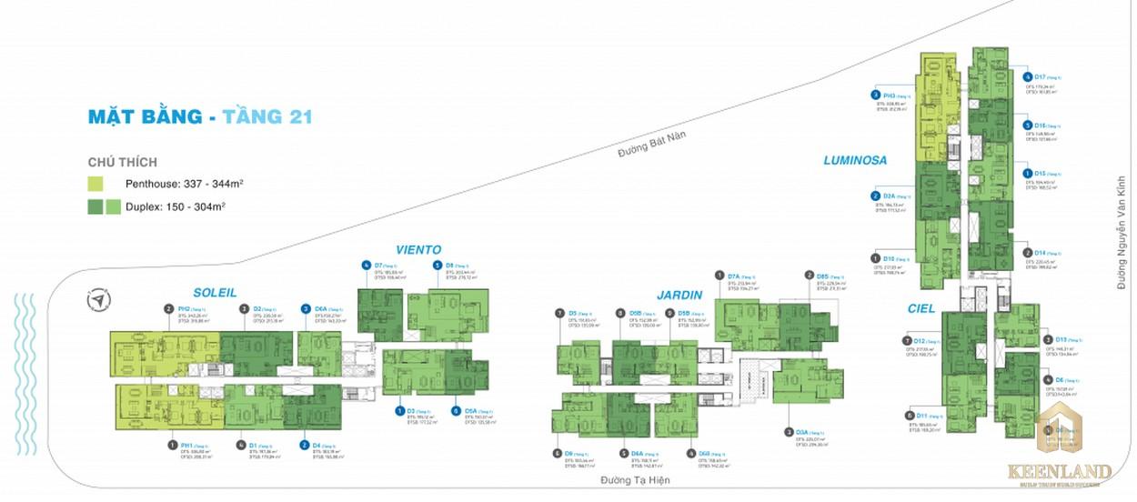 Mặt bằng tầng 21 dự án căn hộ chung cư One Verandah Quận 2