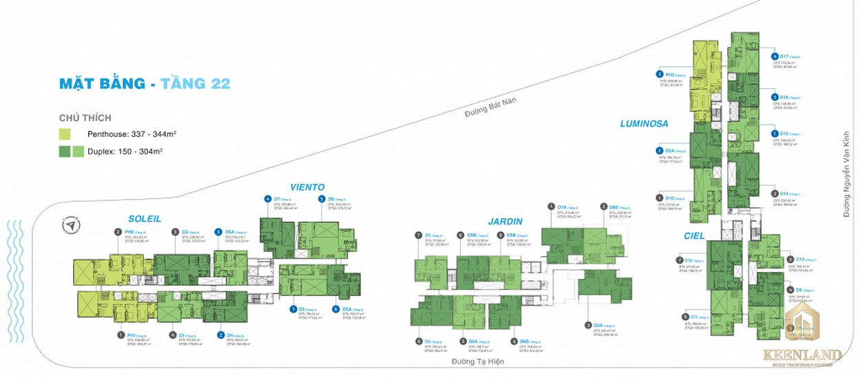Mặt bằng tầng 22 dự án căn hộ chung cư One Verandah Quận 2