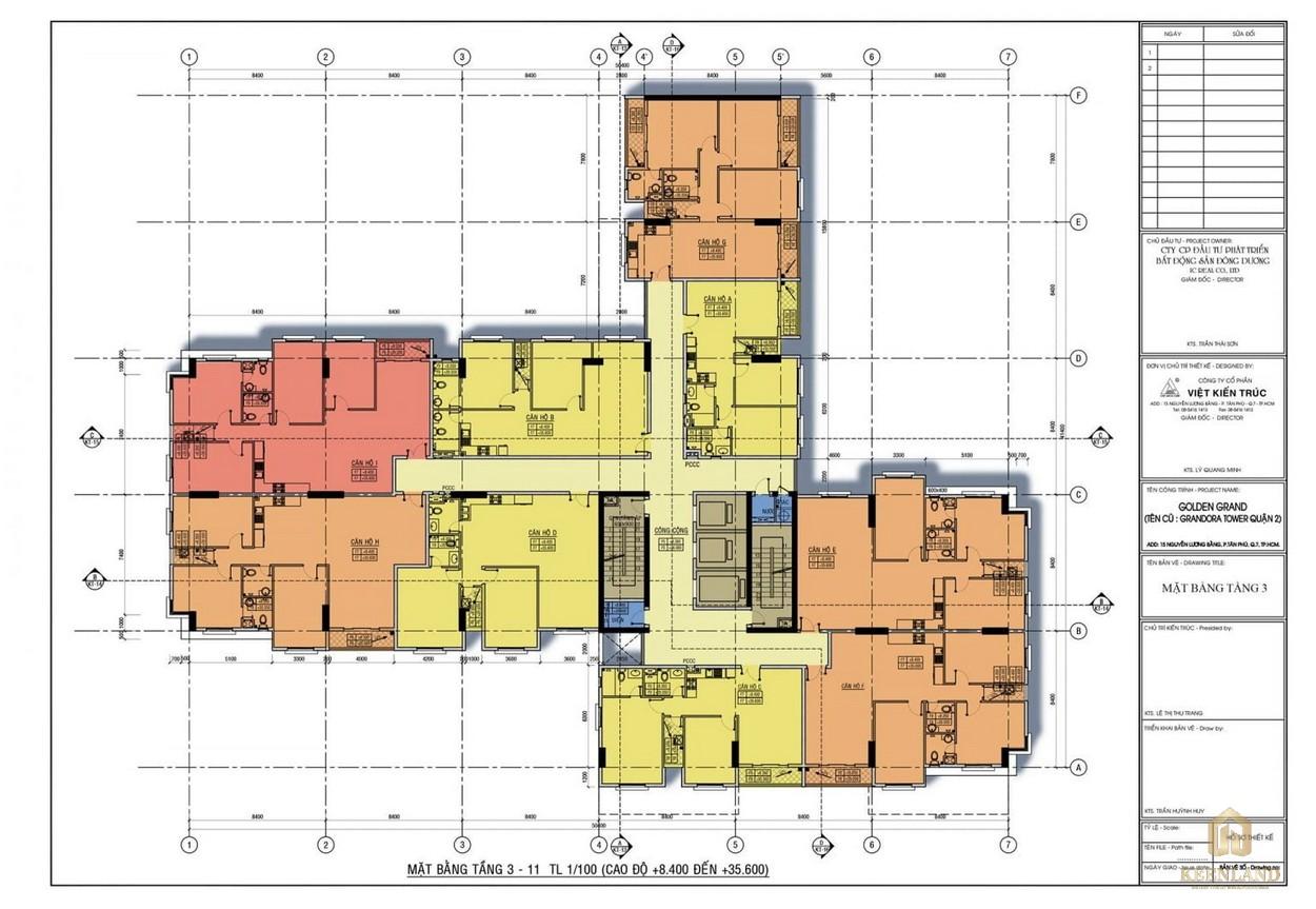 Mặt bằng tầng 3-11 dự án căn hộ Golden Grand quận 2