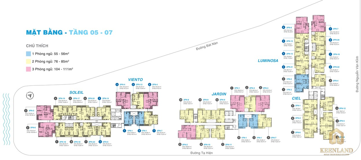 Mặt bằng tầng 5-7 dự án căn hộ chung cư One Verandah Quận 2