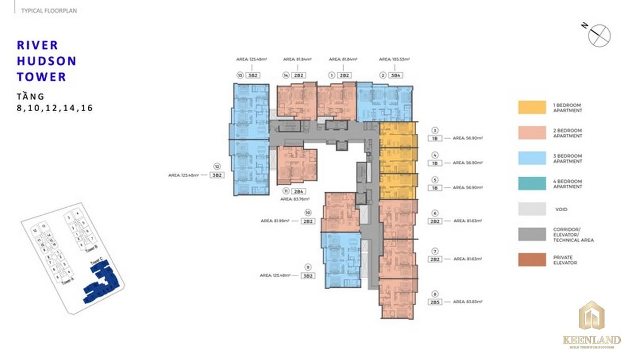 Mặt bằng tầng 8-10-12-14-16 River Hubson Tower