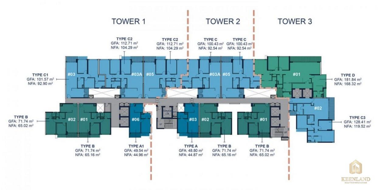 Mặt bằng tầng 8-12 và 15-30 dự án cao cấp Q2 Thảo Điền
