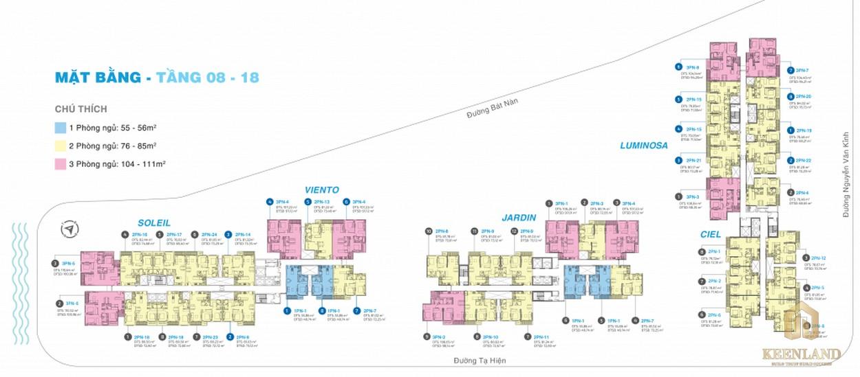 Mặt bằng tầng 8-18 dự án căn hộ chung cư One Verandah Quận 2