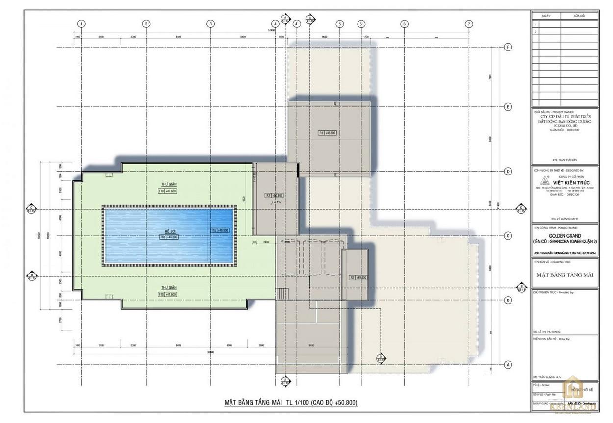 Mặt bằng tầng mái dự án căn hộ Golden Grand quận 2