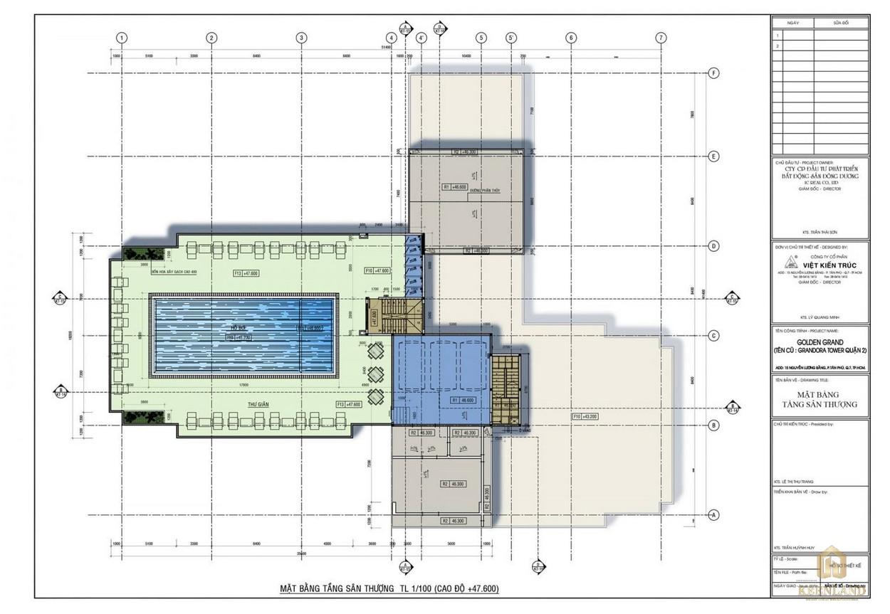 Mặt bằng tầng thượng dự án căn hộ Golden Grand quận 2