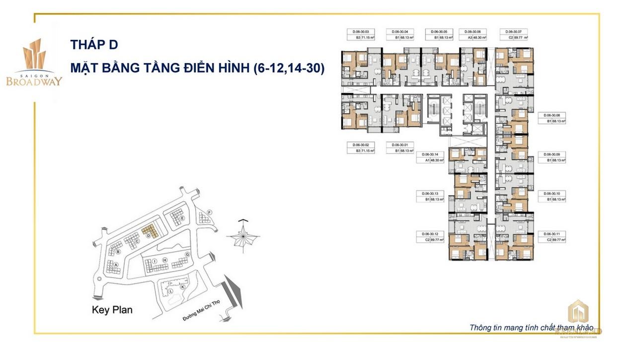 Mặt bằng tháp D tầng 6-12 và 14-30 của dự án SaiGon Broadway