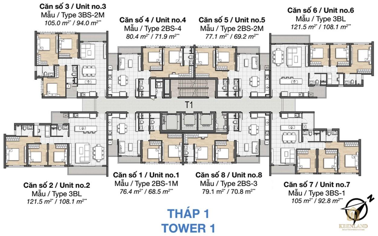 Mặt bằng dự án căn hộ chung cư Palm Heights Quận 2 - THÁP 1