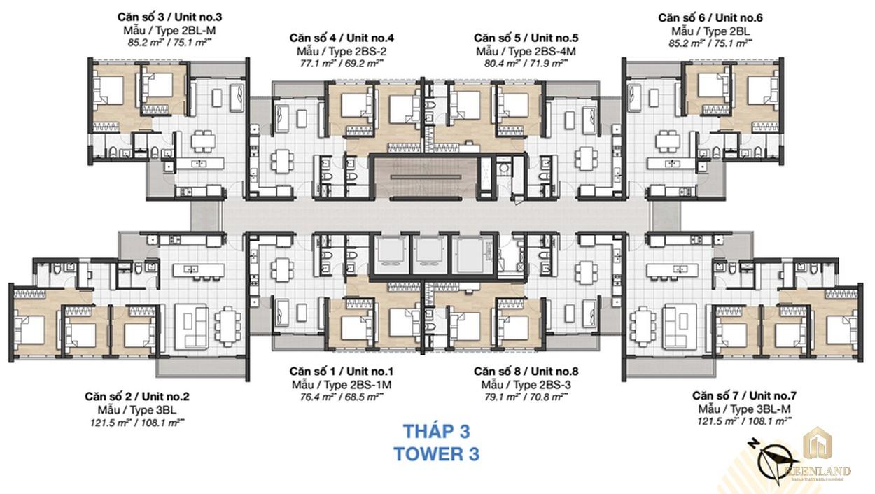 Mặt bằng dự án căn hộ chung cư Palm Heights Quận 2 - THÁP 3