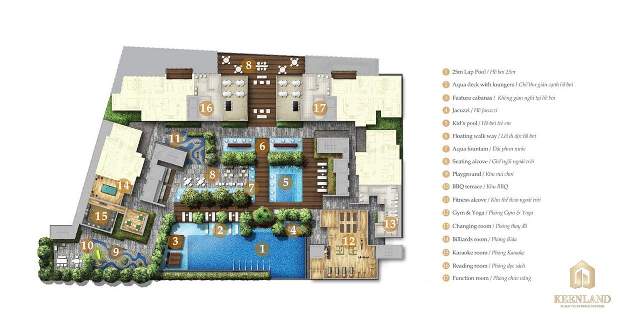 Mặt bằng tầng tiện ích căn hộ Nassim Thảo Điền