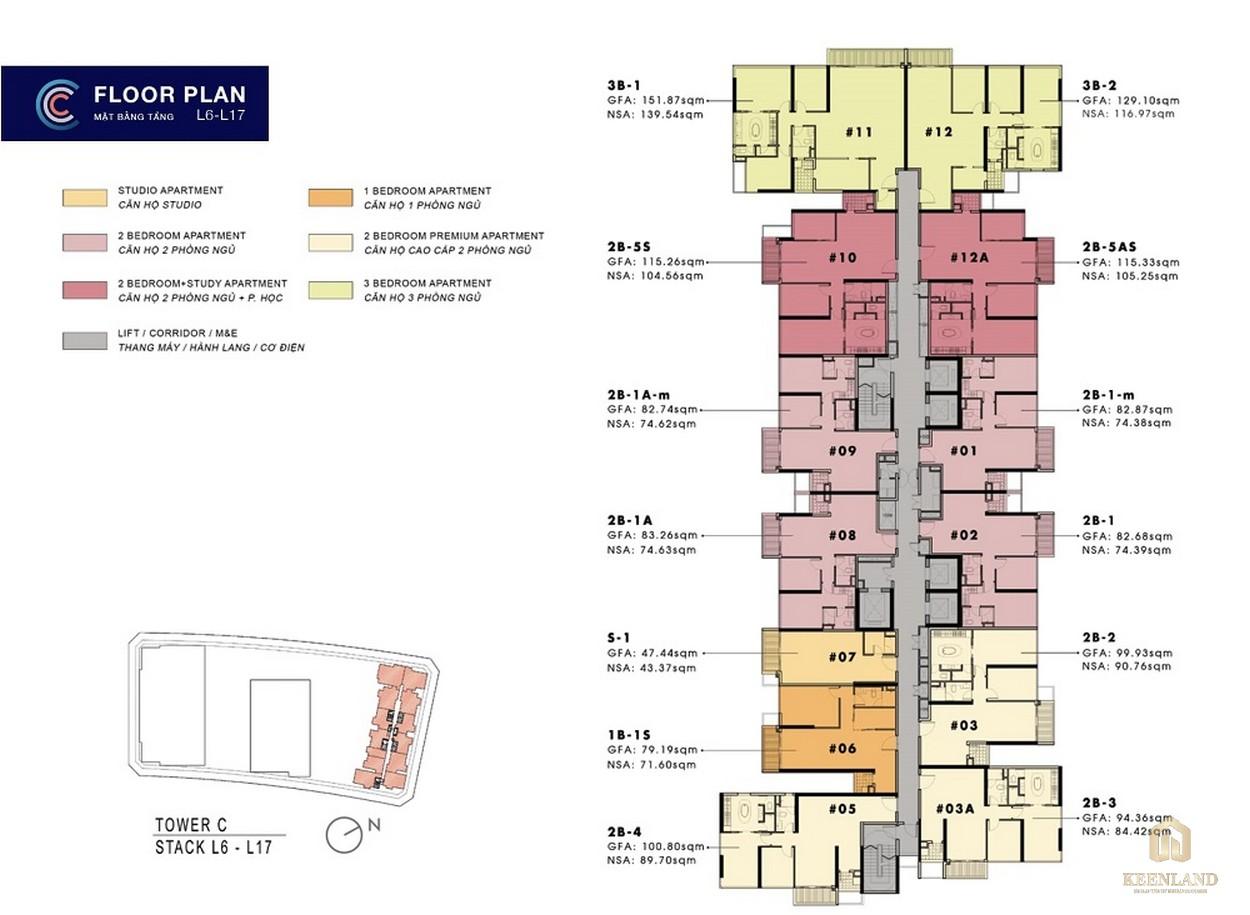 Mặt bằng tầng 6-17 căn hộ The Metropole Thủ Thiêm