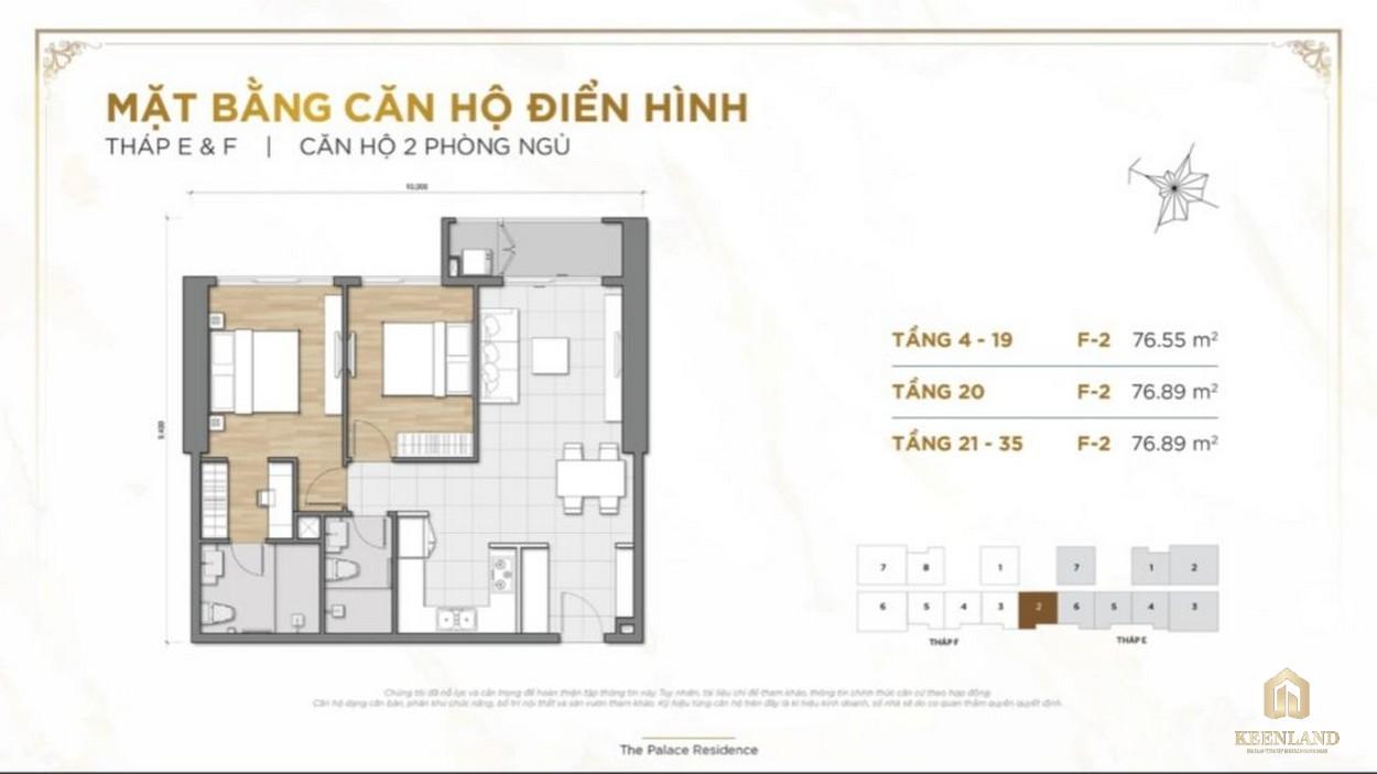 Mặt bằng căn hộ 2PN dự án The Palace Residence Quận 2
