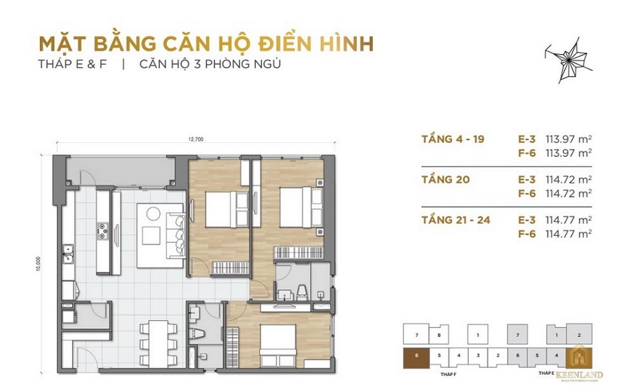 Mặt bằng căn hộ 3PN dự án The Palace Residence Quận 2