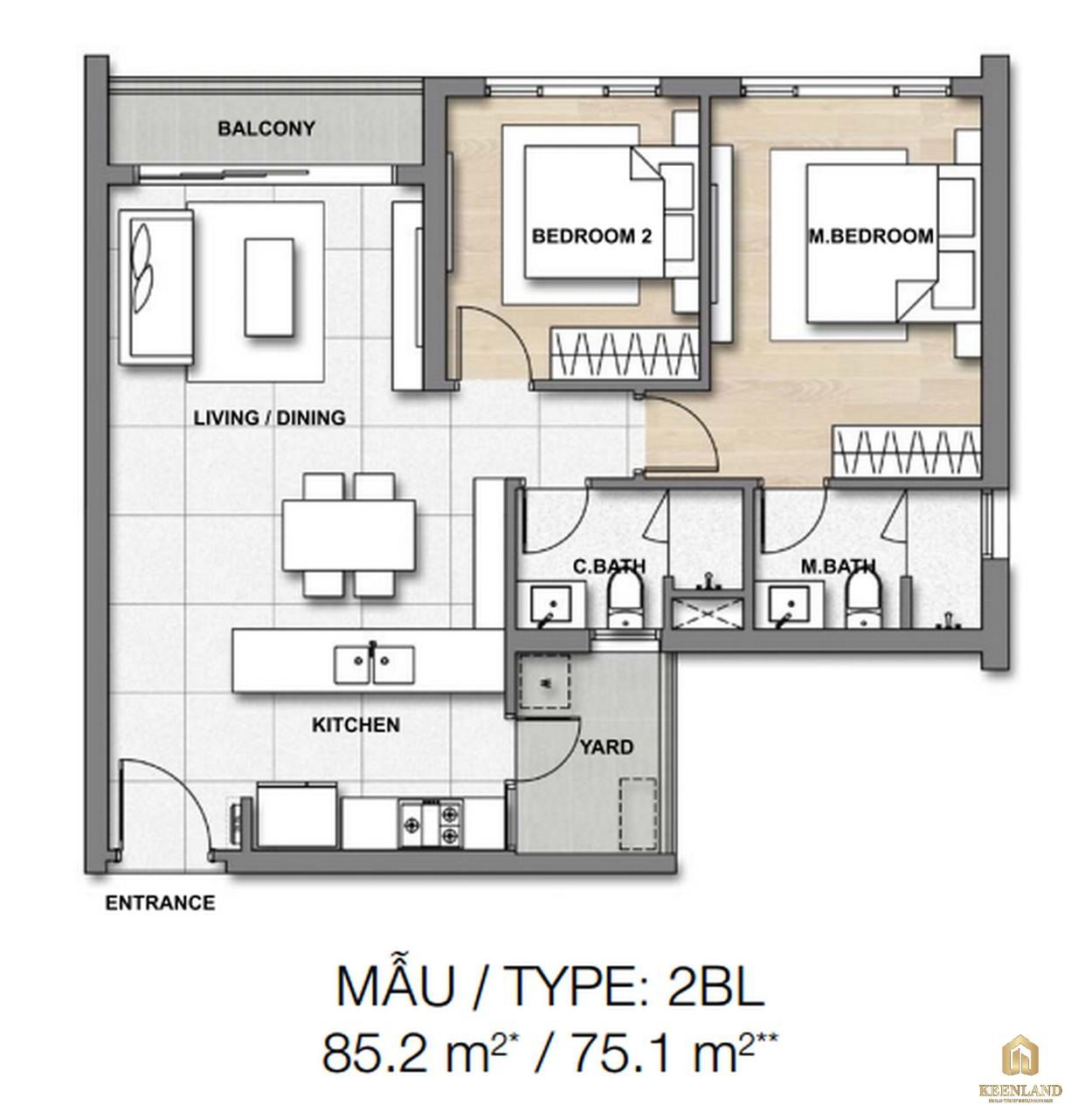 Thiết kế chi tiết căn hộ 2BL dự án căn hộ chung cư Palm Heights Quận 2